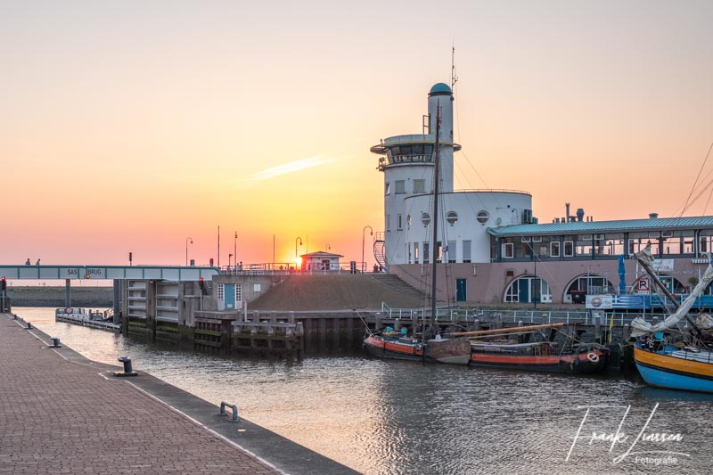 Sunset in the Harbour of Harlingen